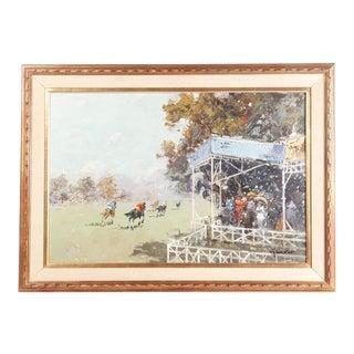 """""""Horse Race Scene"""" Oil Painting by Gravet For Sale"""