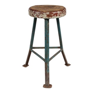 Early 20th Century Industrial Metal Stool With Rustic Wood Seat From France