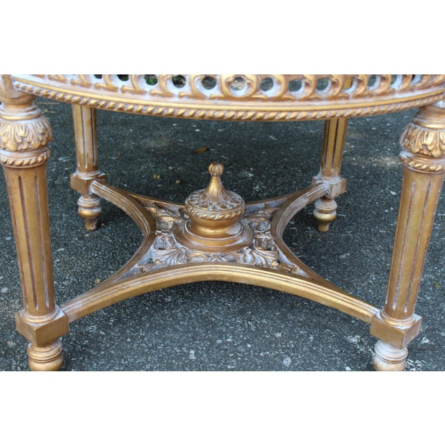 Mid 20th Century 20th Century Louis XVI Accent Table With Marble Top For Sale - Image 5 of 7