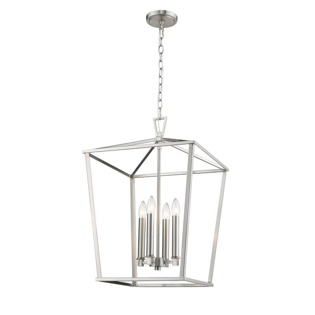 Traditional Ponce City 4 Light Pendant, Satin Nickel For Sale - Image 3 of 8