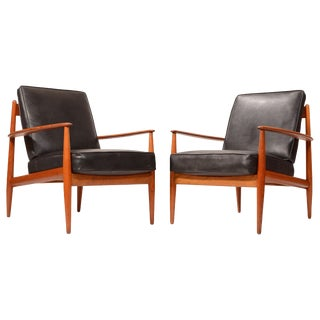 Early Grete Jalk Teak Lounge Chairs With Banding Backs and Seats - a Pair For Sale