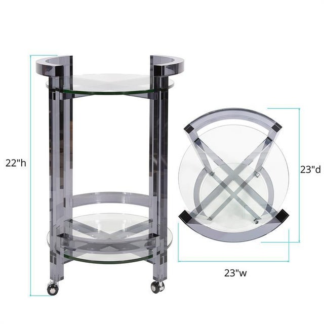 Glass Smoked Acrylic Bar Cart from Kenneth Ludwig Chicago For Sale - Image 7 of 8