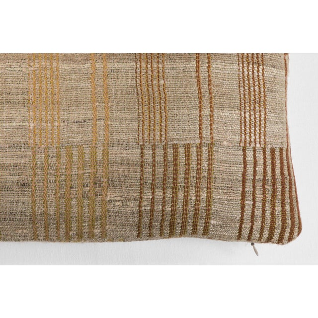 Boho Chic Indian Handwoven Pillow Piano Keys Olive For Sale - Image 3 of 5