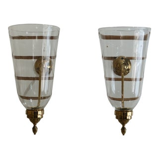 Pair Brass Colonial Style Candelabras With Glass Globes For Sale