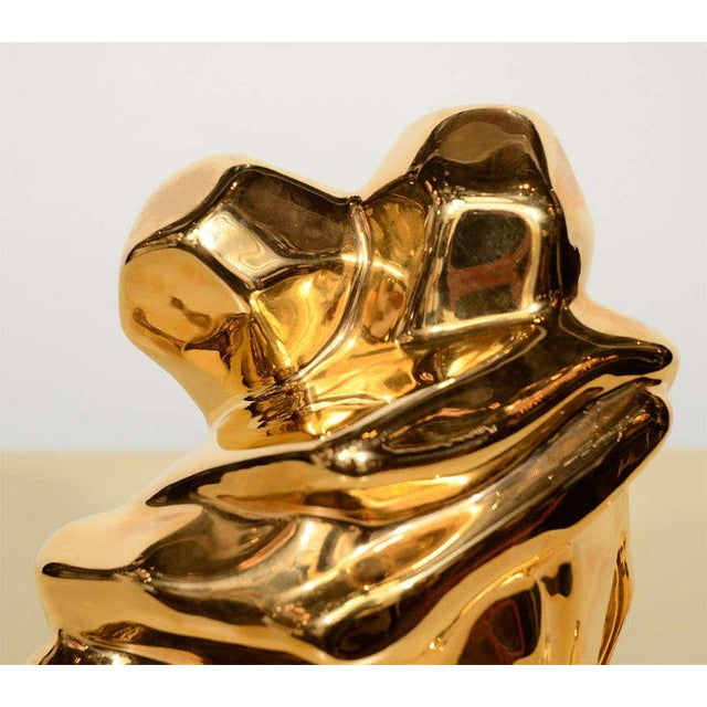 Ceramic Mid-Century Modern 24-Karat Gold Plated Ceramic Cubist Sculpture by Jaru For Sale - Image 7 of 10