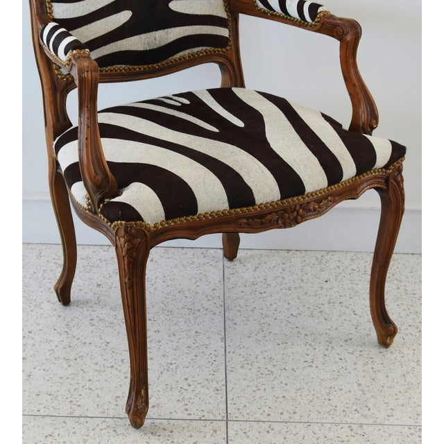 1950s Carved Hardwood & Tiger Cowhide Upholstered Armchair For Sale - Image 11 of 13