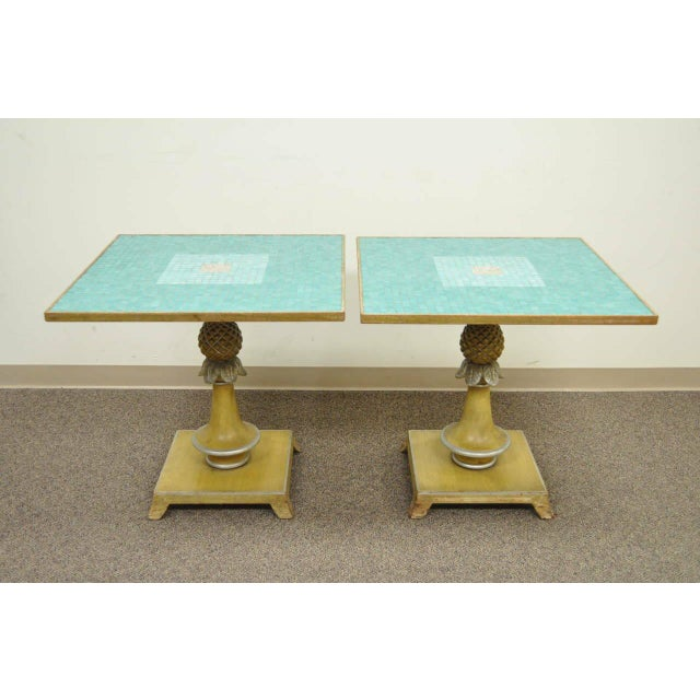 Remarkable pair of vintage, Italian Hollywood Regency, tile top pineapple form tables. This stunning pair features aqua...