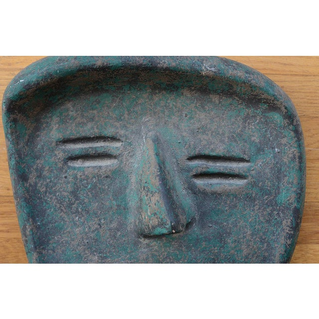 Contemporary Vintage Modernist Green Ceramic Tiki Face Sculpture For Sale - Image 3 of 13