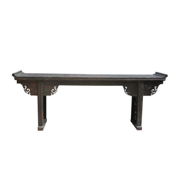 This large long antique altar table has a pair beautifully hand carved panel legs. The wide paneled spandrels decorated...