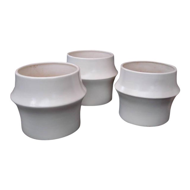 Oversized Modernist Heavy Ceramic Planters, Three Available - Image 1 of 5