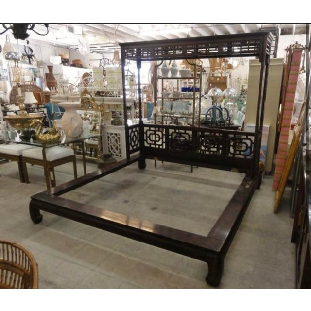 Asian Chinese Canopy Ming Leg Platform King Bedframe For Sale - Image 3 of 5