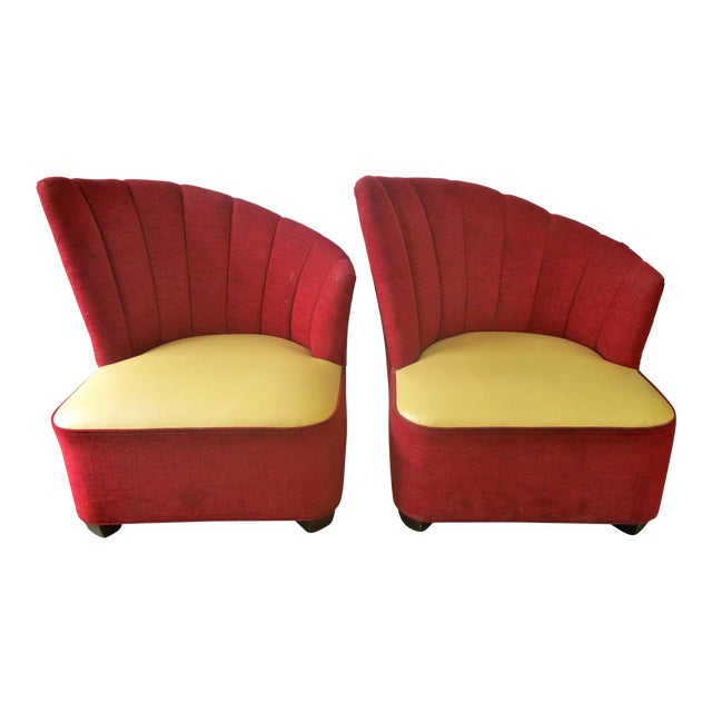 Red Mid-Century Channel Back Chairs - A Pair For Sale