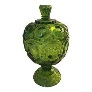 Vintage L.e. Smith Green Glass Moon and Stars Footed Lidded Compote For Sale