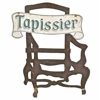 Antique Steel Tapissier Chair Sign For Sale