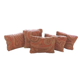 Custom 19th C. Scottish Paisley Shawl Pillows - Set of 5 For Sale