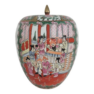 Antique 'Chinese Opera' Rose Mandarin Lidded Porcelain Ginger Jar With Gilt Finial For Sale