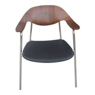 Plycraft Mid-Century Modern Walnut Bentwood & Chrome Side Chair For Sale