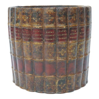 Vintage Maitland-Smith Style Wastebasket Cachepot Faux Antique Book Royal Academy Motif For Sale