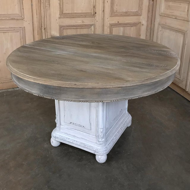 French 19th Century French Louis XVI Painted Pedestal Table For Sale - Image 3 of 13