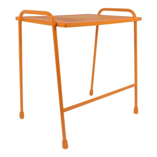 Vintage Mid-Century Modern Orange Wire Side Table For Sale