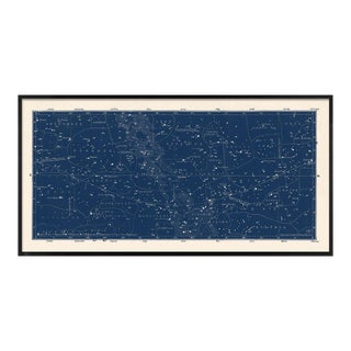 Nautical Blue Star Map in Black Frame For Sale
