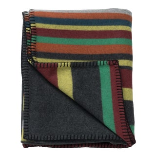Balsas Dexter Lambswool Cashmere Throw, Gray Stripe Multi For Sale