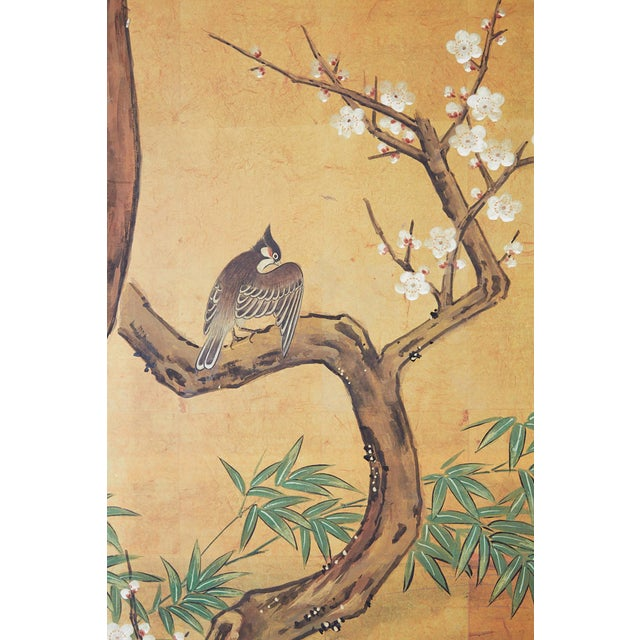 Japanese Edo Style Four-Panel Spring Landscape Screen For Sale - Image 11 of 13