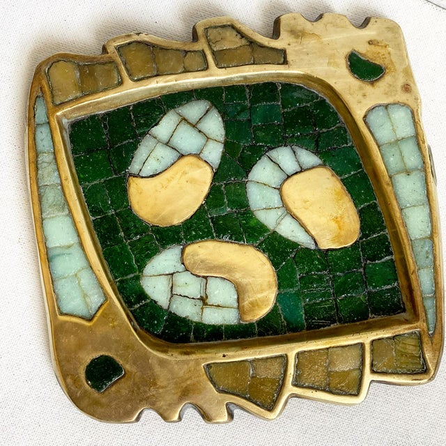 Gorgeous brass and cut glass tile tray by Mid Century Mexican Artist Salvador Teran