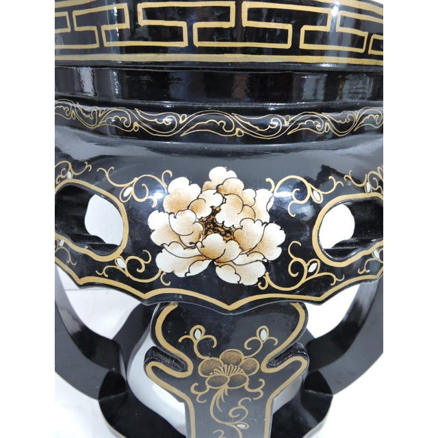 Metal Vintage Chinese Black Lacquer Figural Side Table With Glass Top For Sale - Image 7 of 7