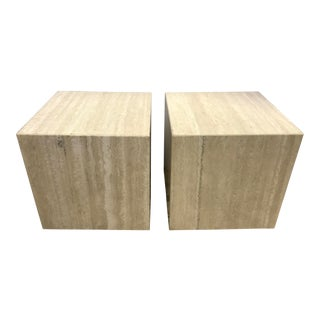 1960s Vintage Travertine Stone Cubes End Tables Stools- A Pair For Sale