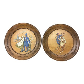 Vintage Hand-Painted Swedish Wooden Plates - a Pair For Sale