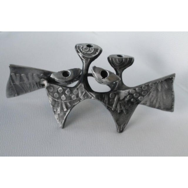 Silver Donald Drumm Brutalist Cast Aluminum Candle Holder For Sale - Image 8 of 11