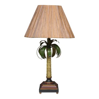 20th Century Hand Painted Palm Tree Lamps With Custom Bamboo Shades - a Pair For Sale