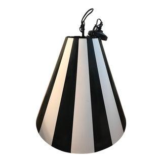 Large Black & White Striped Pendant Light Fixture (Pair Available) For Sale