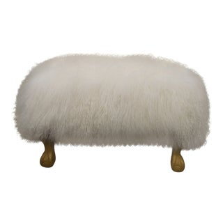 Ottoman Upholstered in a Curly White Lambs Wool Skin With Gilded Legs For Sale
