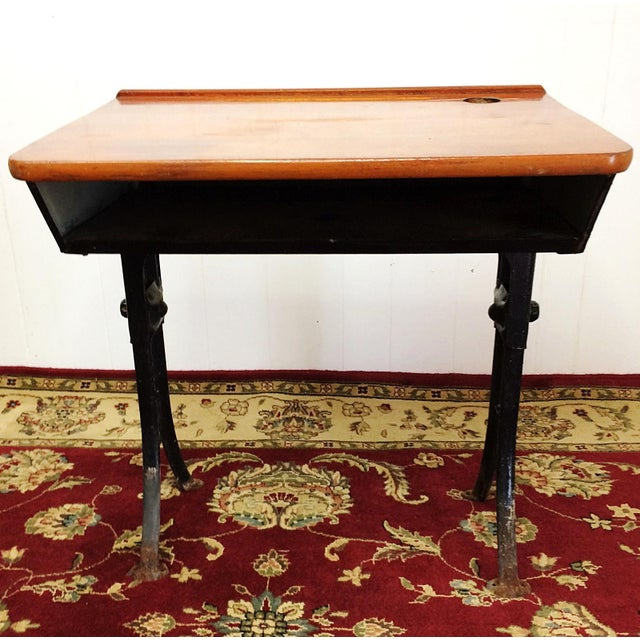 Children's Antique American Seating Cast Iron Student School Desk & Chair For Sale - Image 3 of 10
