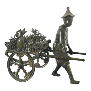 Cast Iron Chinoiserie Rickshaw Carriage Plant Stand For Sale