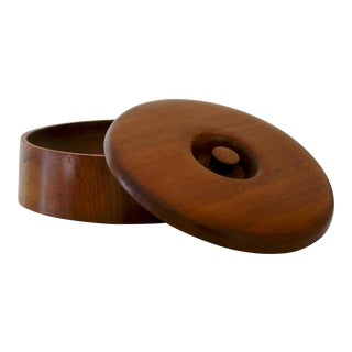 1960s Vintage Handmade Round Wood Jewelry Box For Sale