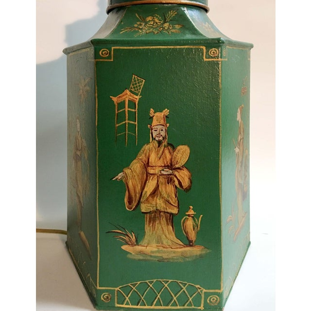 Mid 20th Century English Chinoiserie Hexagon Tea Canister Lamp For Sale - Image 5 of 8
