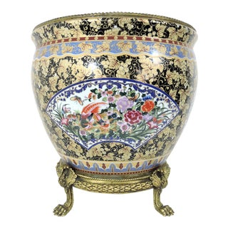 Vintage Chinese Export Porcelain Goldfish Bowl Planter on Lions Paw Brass Display Stand For Sale