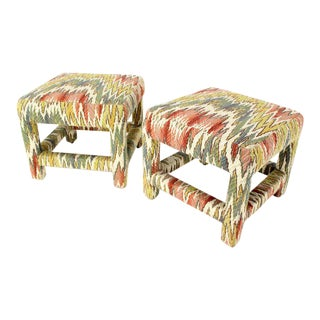Pair of Flame Stitch Upholstery Mid-Century Modern Benches For Sale