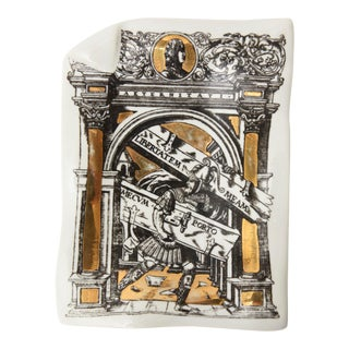 Piero Fornasetti Porcelain and Gilded Tray For Sale