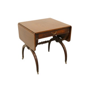 20th Century Traditional Imperial Furniture Grand Rapids Genuine Solid Mahogany Pembroke / Drop-Leaf Accent Table For Sale