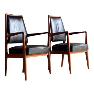 Mid Century Danish Teak & Leather Desk Chairs Armchairs - a Pair For Sale