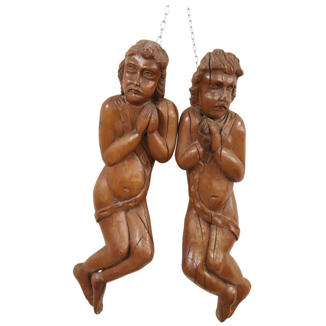 17th Century Italian Sculpture Pair of Carved Wooden Cherubs For Sale - Image 12 of 12