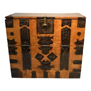 Antique Korean Blanket Chest with Carved Ornate Hardware, 19th Century