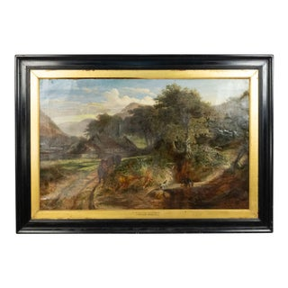 English Victorian Landscape of Boy with Dog and Bulls For Sale