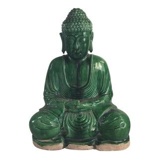 Chinese Jade Green Majolica Glaze Terracotta Seated Buddha Statue