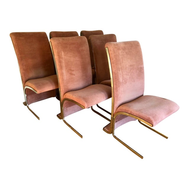 Milo Baughman Modern Brass Cantilever Dining Chairs- Set of Six For Sale