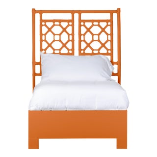 Lattice Back Bed Twin Extra Long - Orange For Sale